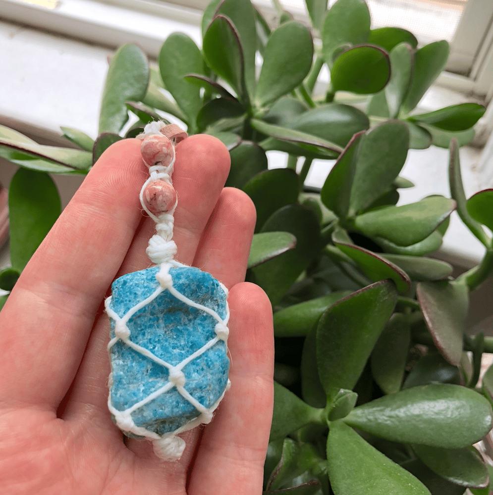 Image of Blue Apatite + Rhodochrosite Hemp-Netted Necklace on Vegan Suede