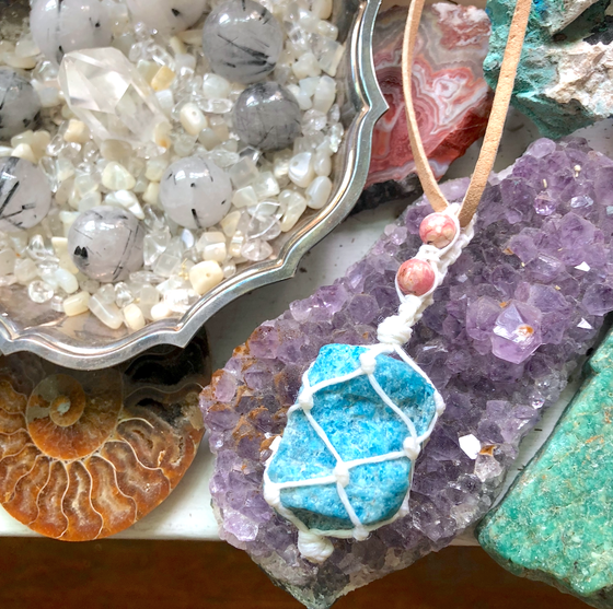 Image of Blue Apatite + Rhodochrosite Hemp-Netted Necklace on Vegan Suede