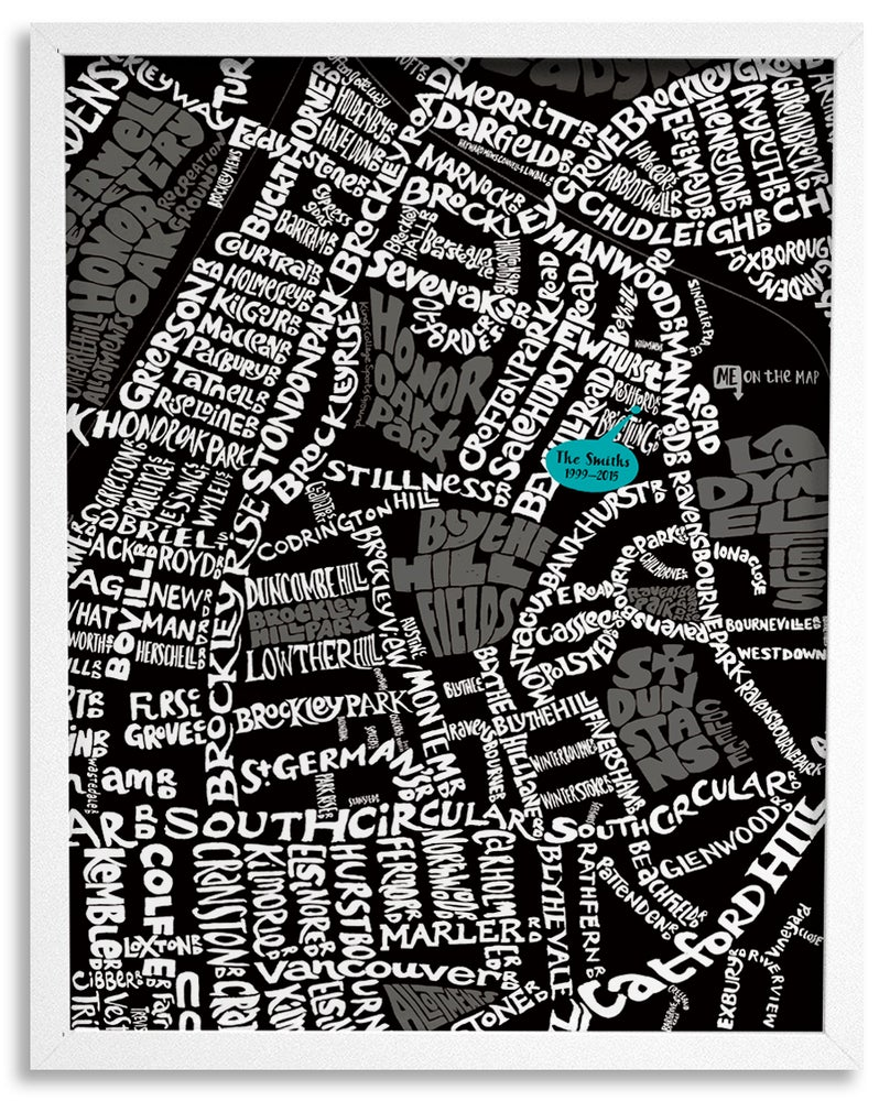 Image of Honor Oak Park SE23 & Blythe HIll SE6 - SE London Type Map - Black