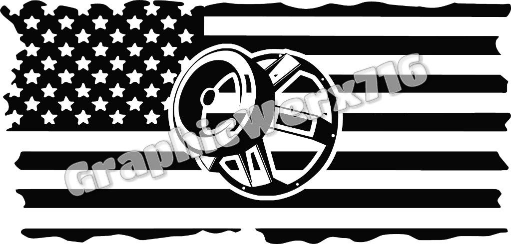 Hertz Car Sale >> Distressed Full Flag Decal With Subwoofer | Graphicwerx716