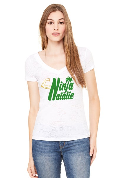 Image of Green Burnout V-Neck Tee