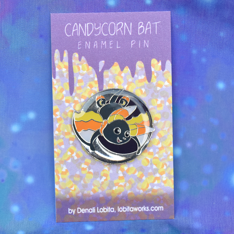 Image of Candycorn Bat Enamel Pin