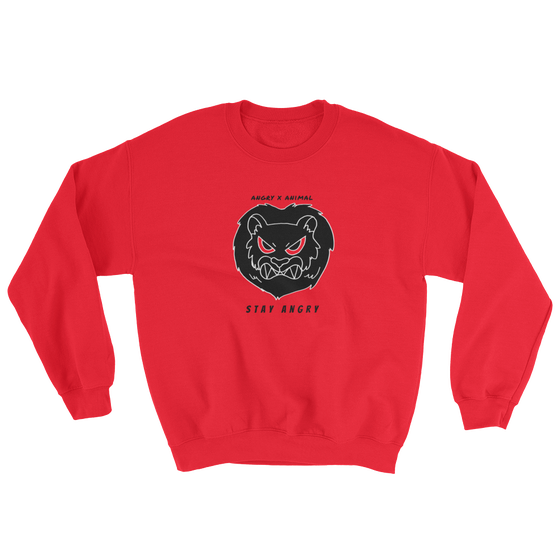 Image of ANGRY ANIMAL CREWNECK SWEATSHIRT - red