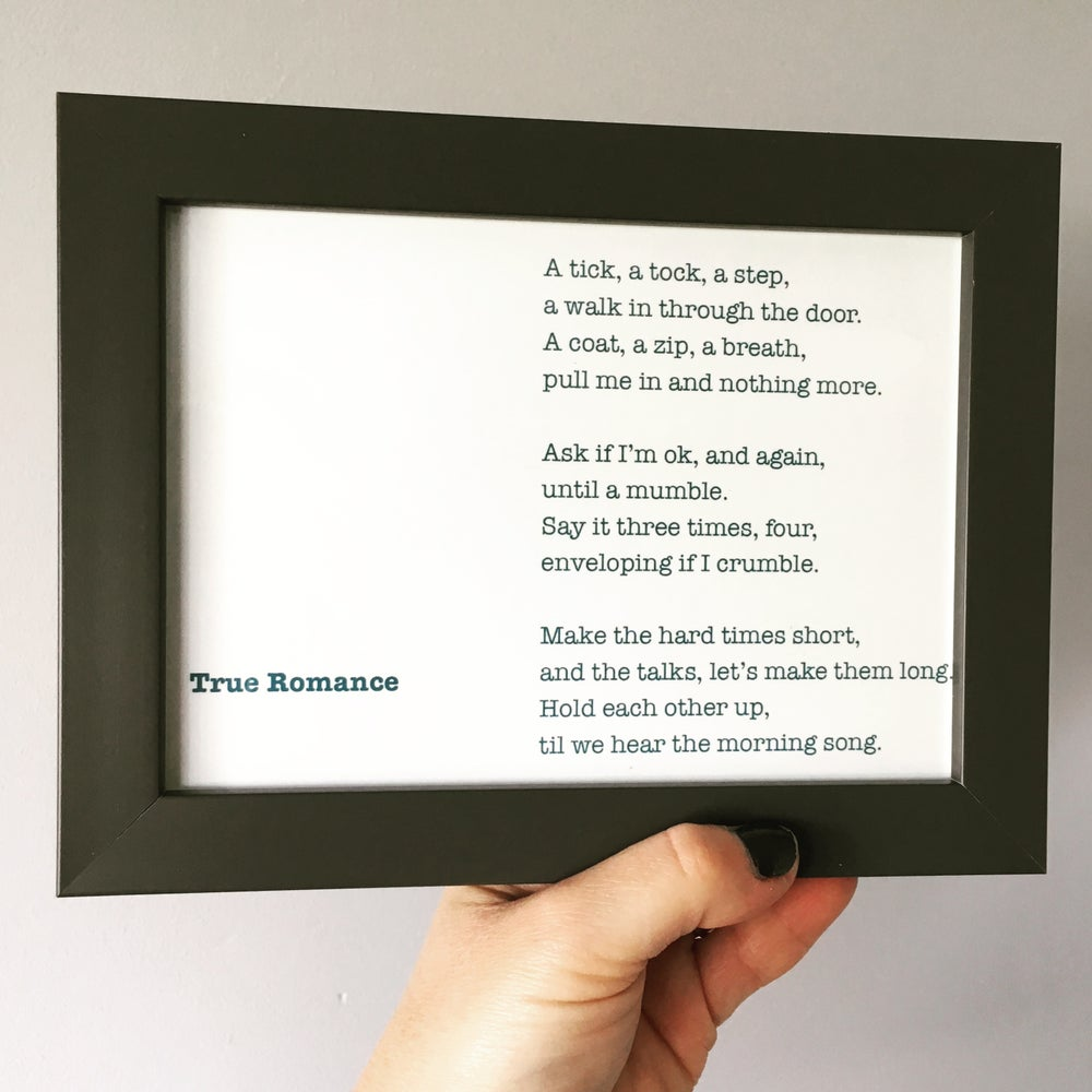 Image of True Romance - Poem Postcard (Medium - 7x5 size)