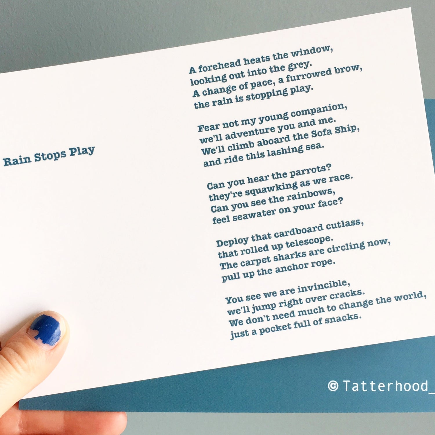 Image of Rain Stops Play - Poem Postcard (Small - A6 Size)