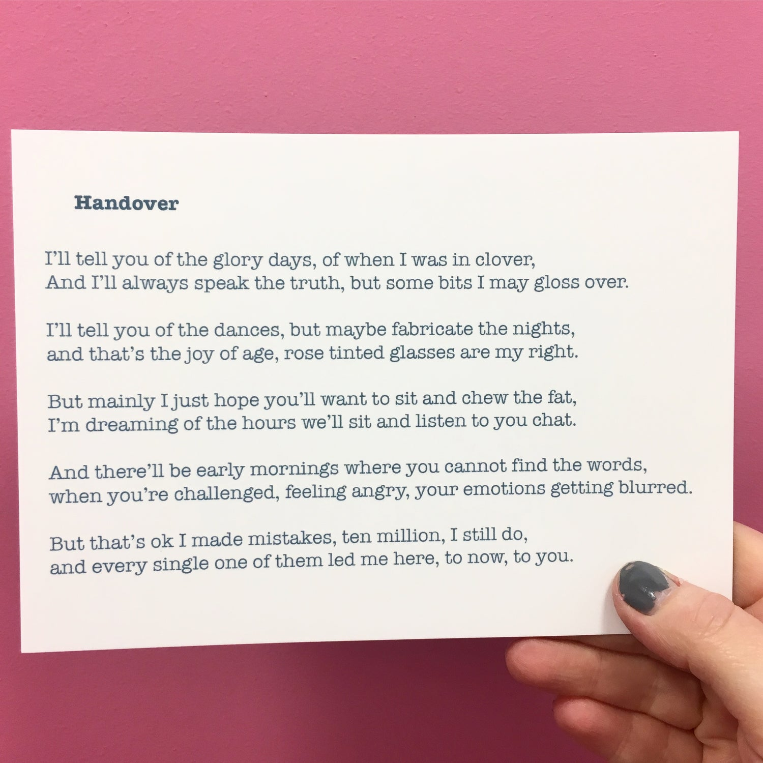 Image of Handover - Poem Postcard (Small - A6 Size)
