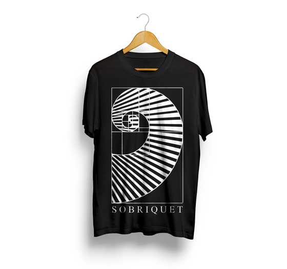 Image of Black Shirt with White Spiral Design