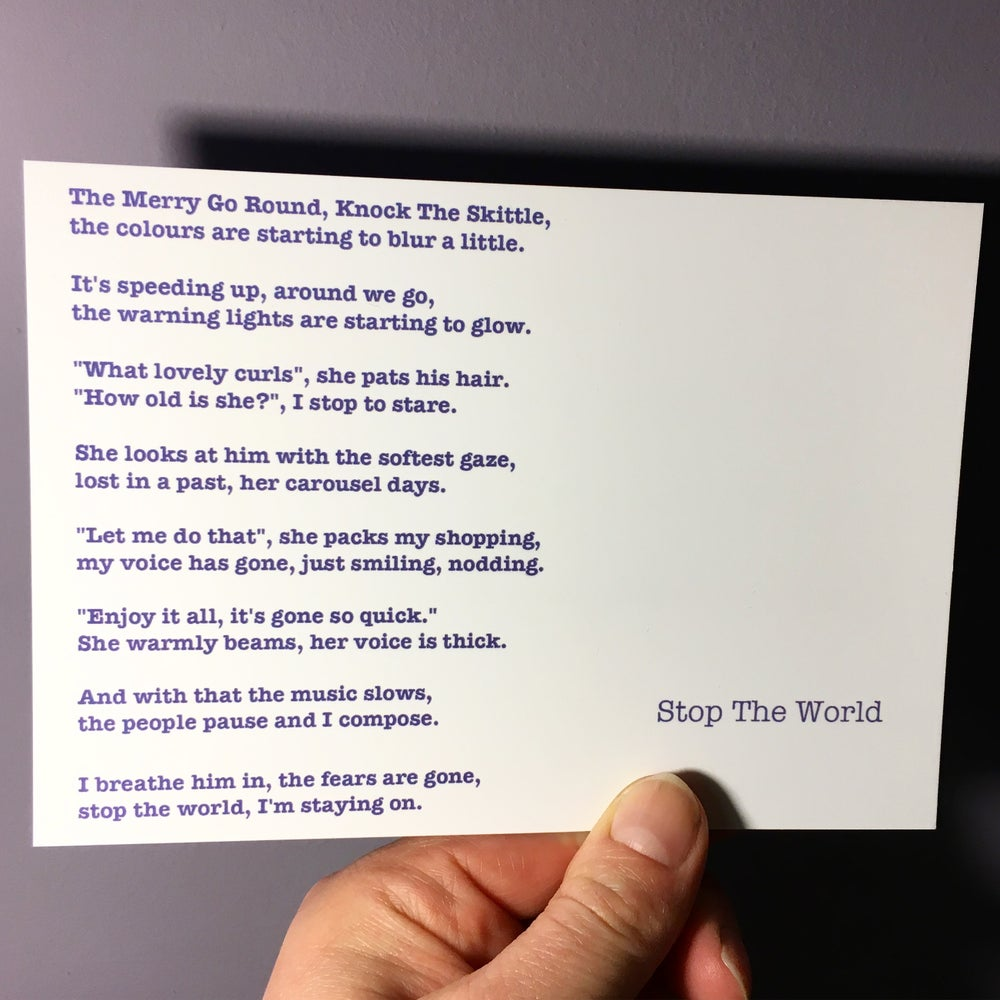 Image of Stop The World - Poem Postcard (Medium - 7 x 5 size)