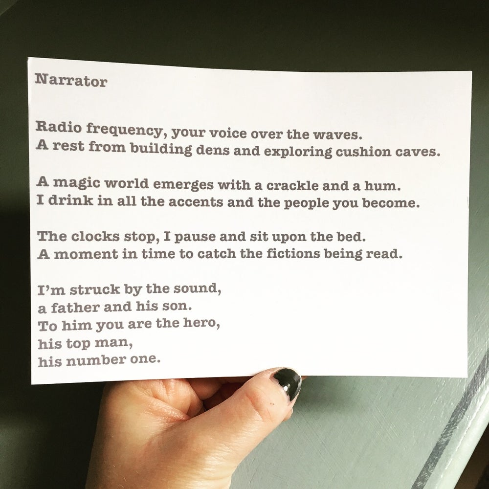 Image of Narrator - Poem Postcard (Small - A6 size)