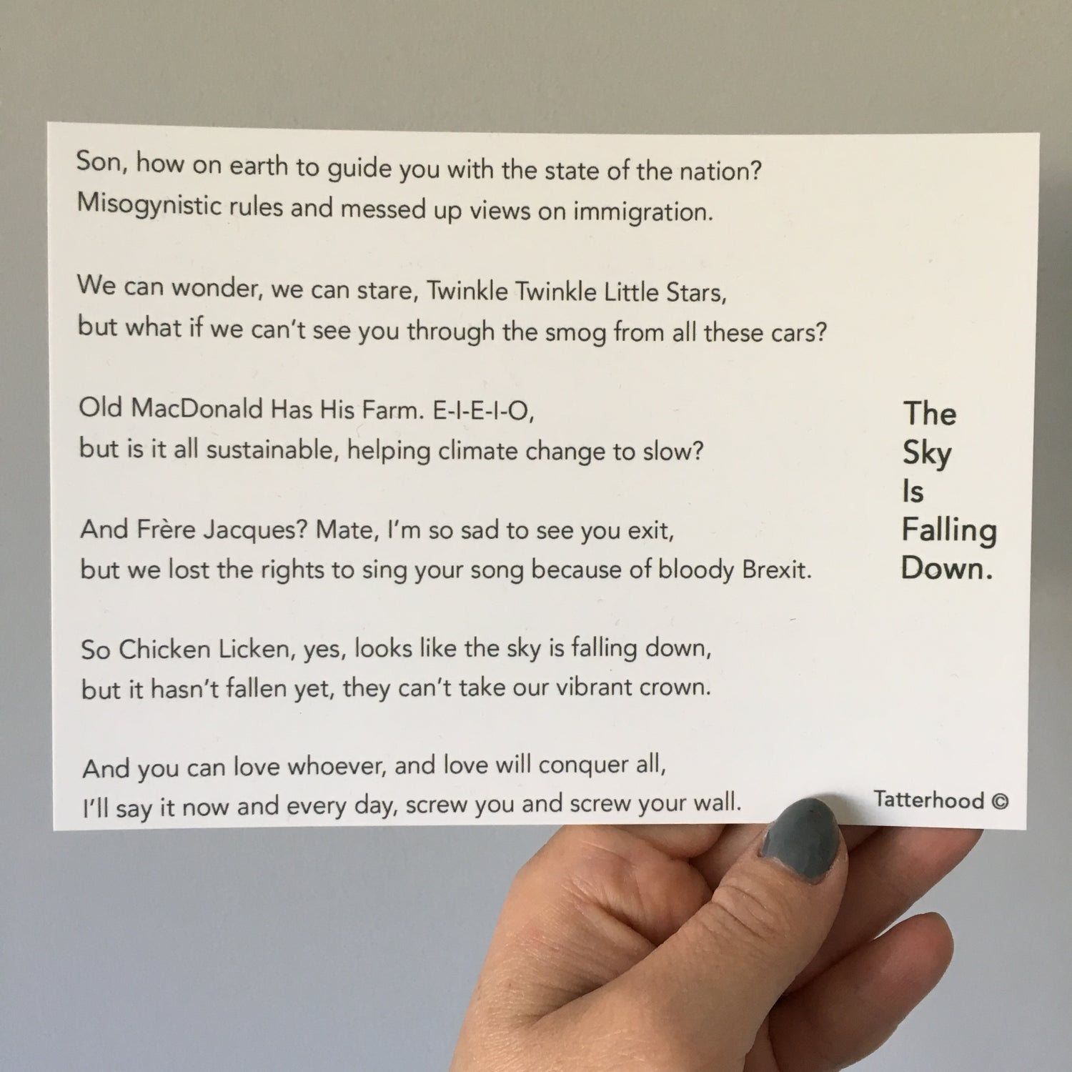Image of The Sky Is Falling Down - Poem Postcard (Medium - 7x5 size)