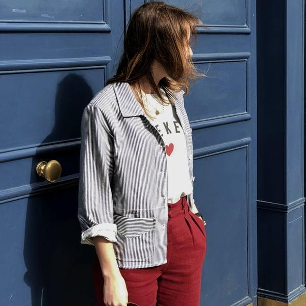 Veste Victoire à Rayures Bleues  235€  -60% - Maison Brunet Paris