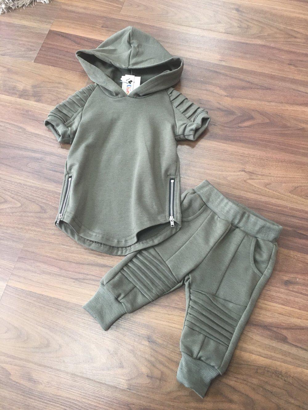 Image of Baby boys khaki tracksuit set