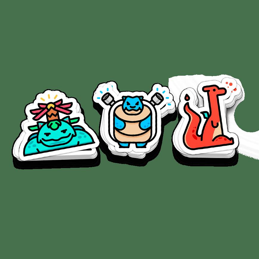 Kanto Final Evolution Sticker Pack (set of 3)