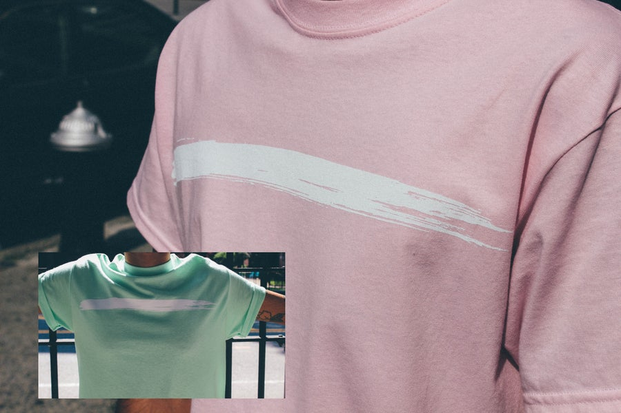 Image of Strawberry/Mint Brush Stroke T shirt.