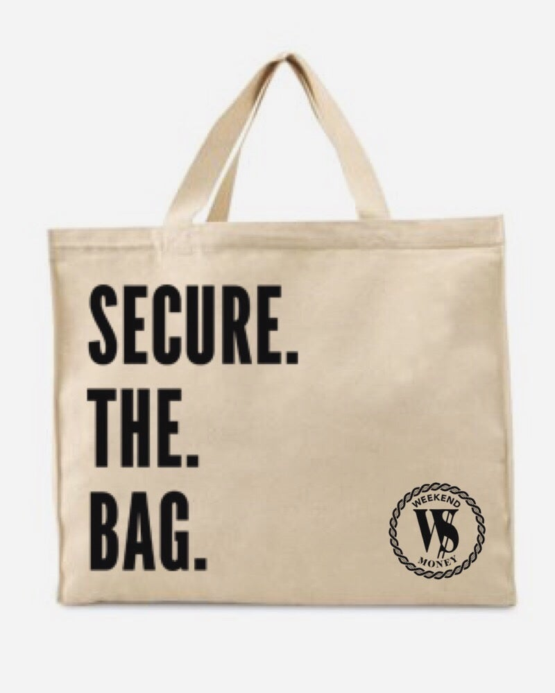 "Image of *NEW* ""Secure The Bag"" Jumbo Tote Bag"