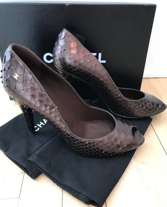 Image of Chanel Metallic Python CC Logo Peep Toe Pumps