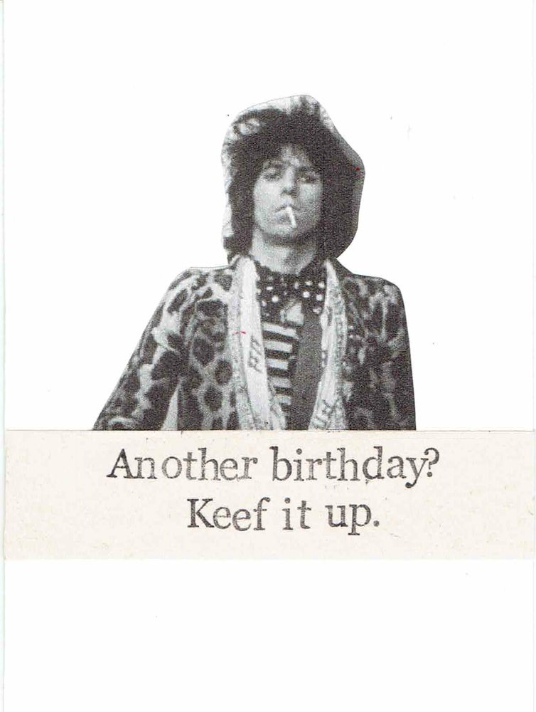 Image of Another Birthday Keef It Up Funny Keith Richards Birthday Card | Vintage Rock Music Humor Pun