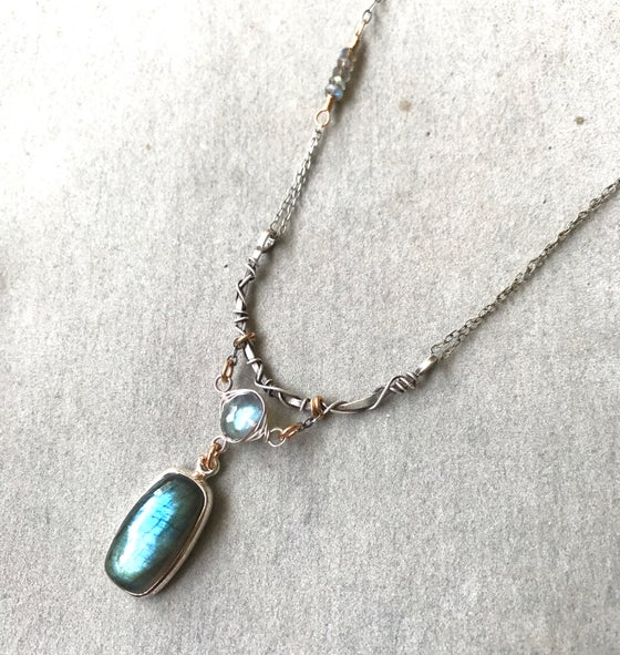 Image of Organic silver bar and Labradorite necklace