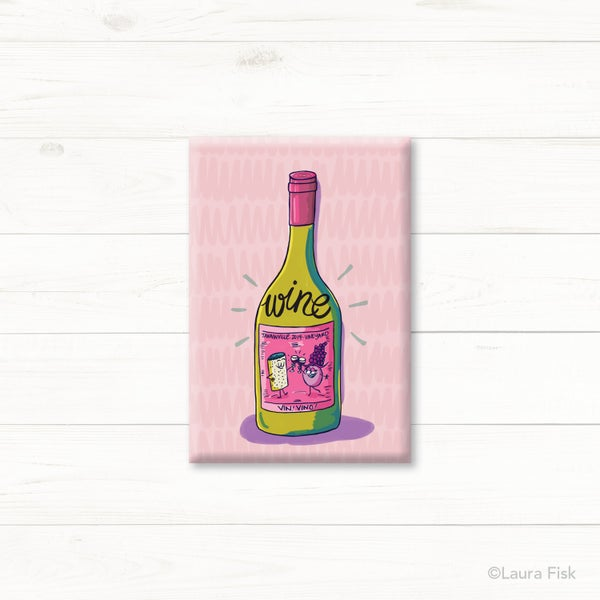 Image of Wine Bottle Funny Food Fridge Magnet