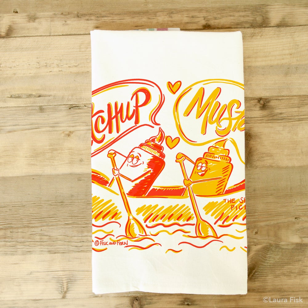 Image of Ketchup & Mustard Hot Dog Tea Towel