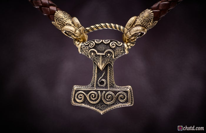 Image of THOR'S HAMMER, MJOLNIR Skane - Leather Necklace <br>Good Yule !!! >> SALE! <br>The price is reduced!