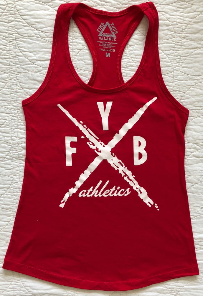 """Image of """"X"""" WOMENS RACERBACK TANK - RED"""