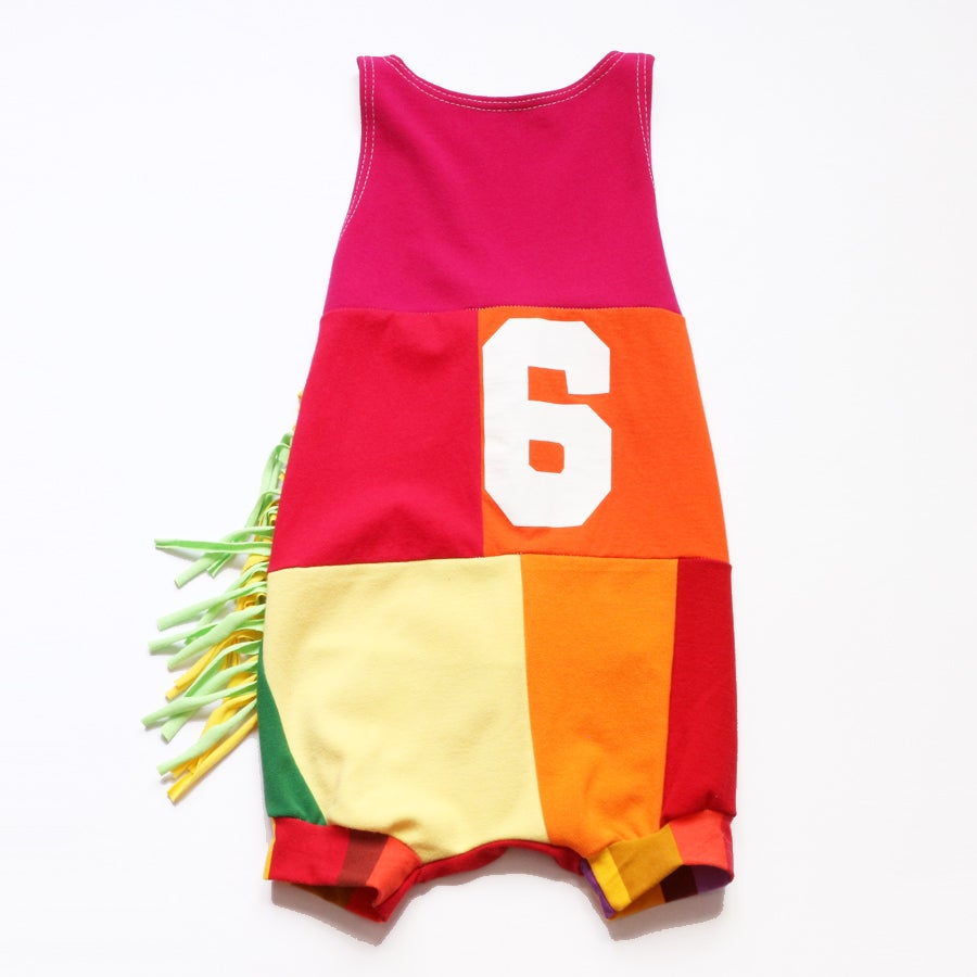 Image of happy super 6th birthday 5/6 6 six sixth rainbow fringe bday romper