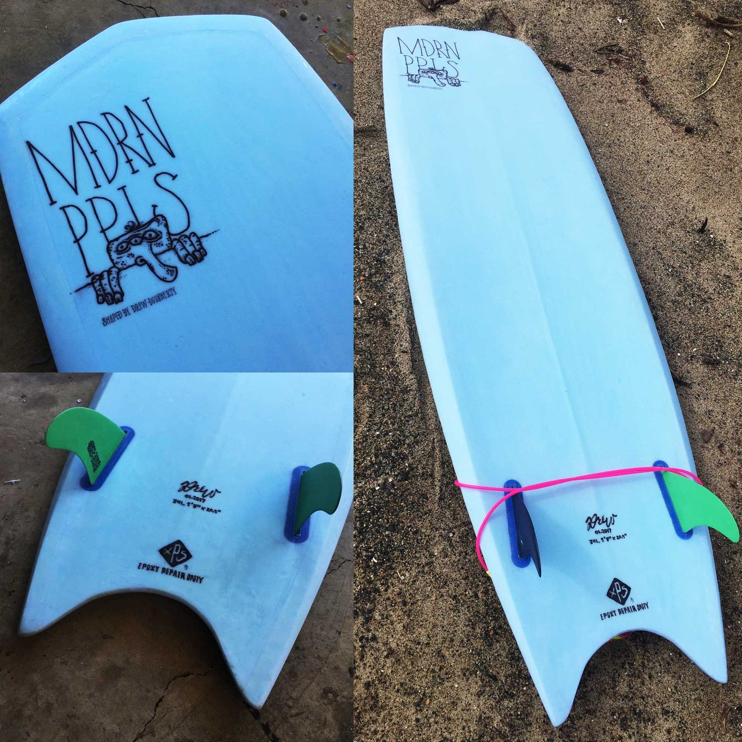 Image of Hand made Mini-simmons Hybrid Surfboard (planning hull)