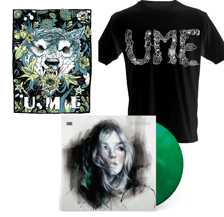 Image of Signed Clear Green Vinyl + Silkscreened Poster + T-Shirt