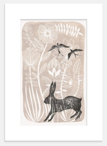 Image of Rabbit and Swallows-Print