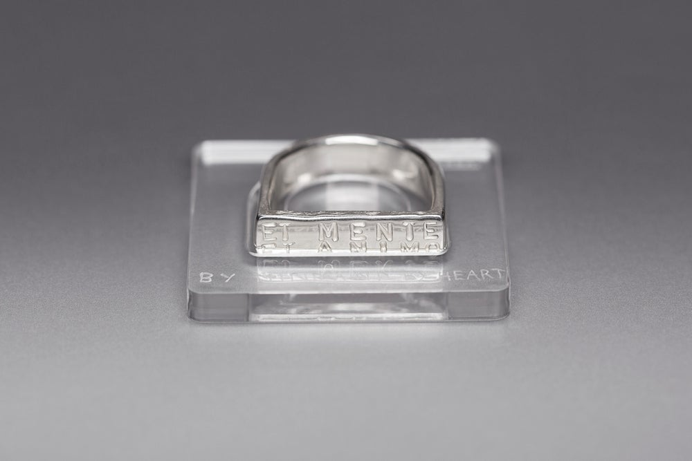 Image of silver MAXI plain ring with Latin inscription