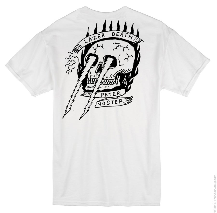Image of Lazer Death Tshirt White back print