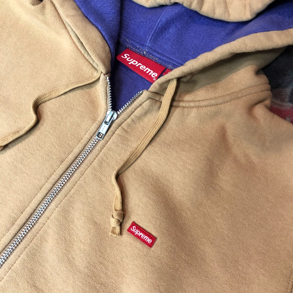 Image of Supreme Contrast Zip Up Hooded Sweatshirt - Size Medium