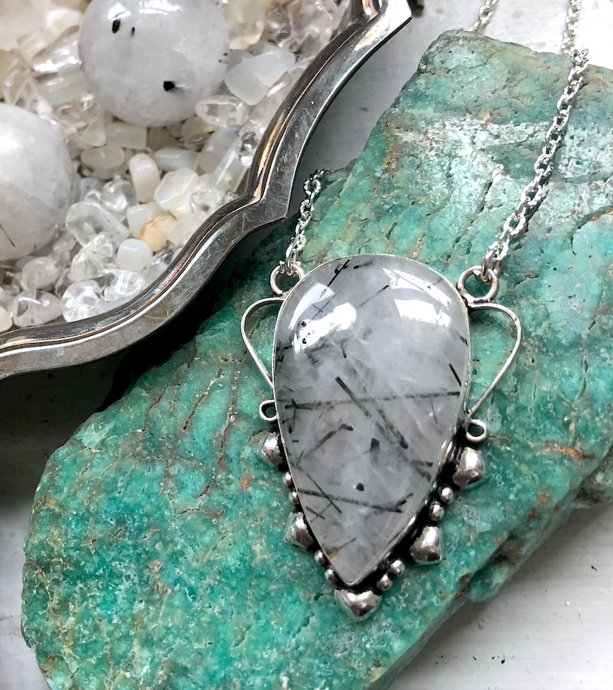 Image of Black Tourmalinated Quartz Sterling Silver Necklace
