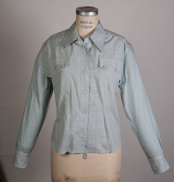 Image of Womens Deadstock 1950's LEVIS Short Horn Saw Tooth Western Shirt Size 38 Original Big E Era