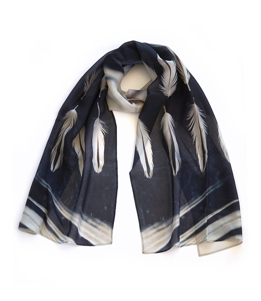 Image of White feather silk scarf, chiffon wrap, Oystercatcher, black and white, luxury gift