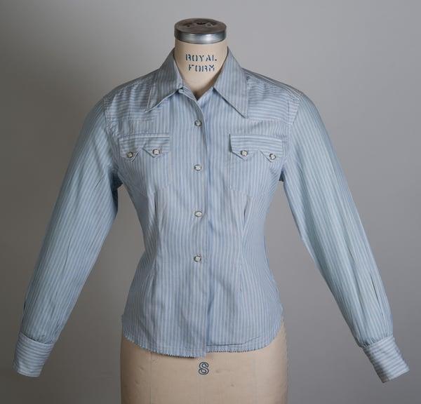 Image of Vintage Womens 1950's LEVIS Short Horn Saw Tooth Western Shirt Size 34 Sanforized Big E Era