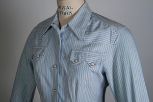 Image of Vintage Womens 1950's LEVIS Short Horn Saw Tooth Western Shirt Size 34 Sanforized Big E Era