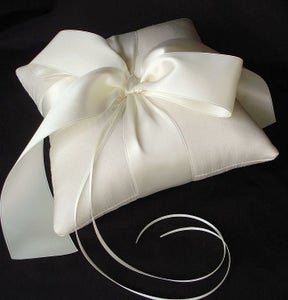 Image of Luxe Bow Silk Dupioni Ring Bearer Pillow - More Colors