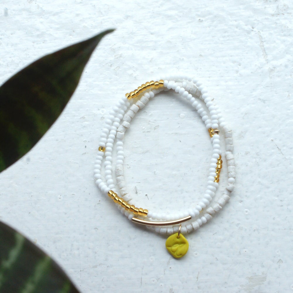 Image of Sow and Ye Shall Grow - white and gold seed bead bracelet