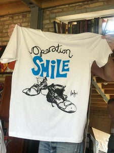 Image of Charlie Chaplin Boots, drawn by Tom Burke to make you Smile tee