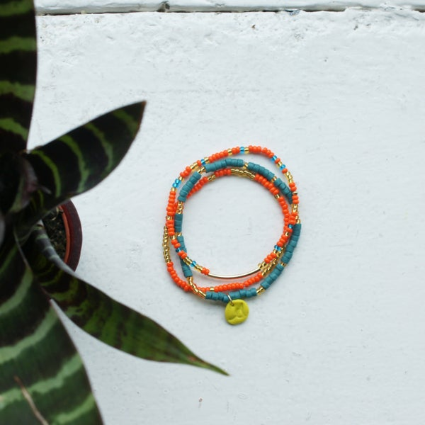 Image of Sow and Ye Shall Grow - Orange and teal seed bead bracelet