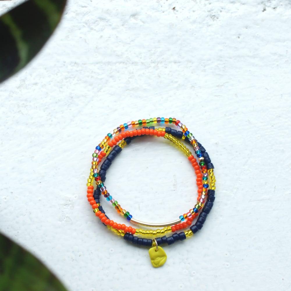 Image of Sow and Ye Shall Grow - Orange and indigo seed bead bracelet