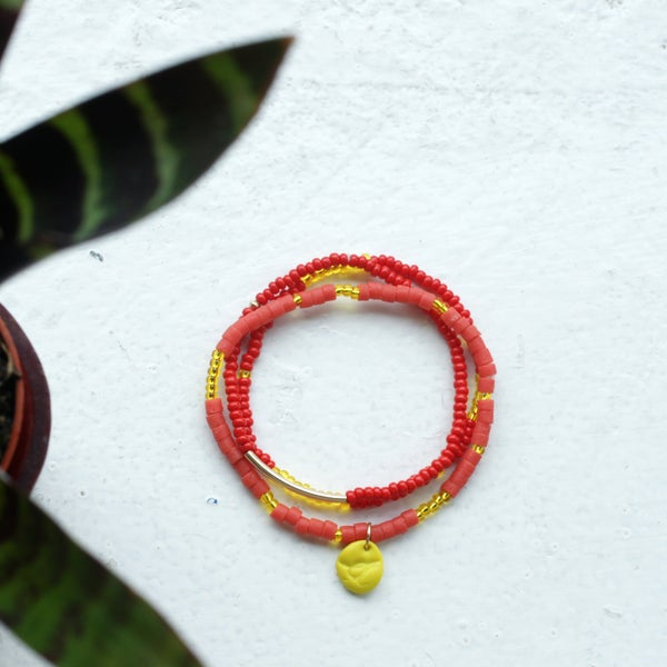 Image of Sow and Ye Shall Grow - coral and red seed bead bracelet