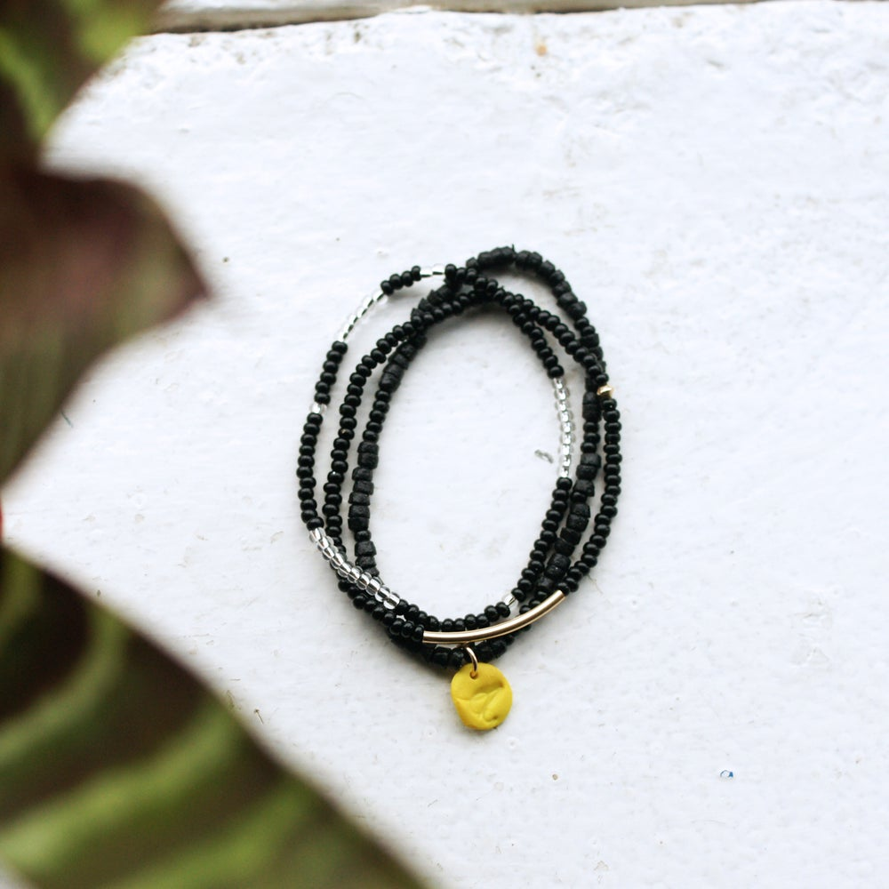 Image of Sow and Ye Shall Grow - black and silver seed bead bracelet