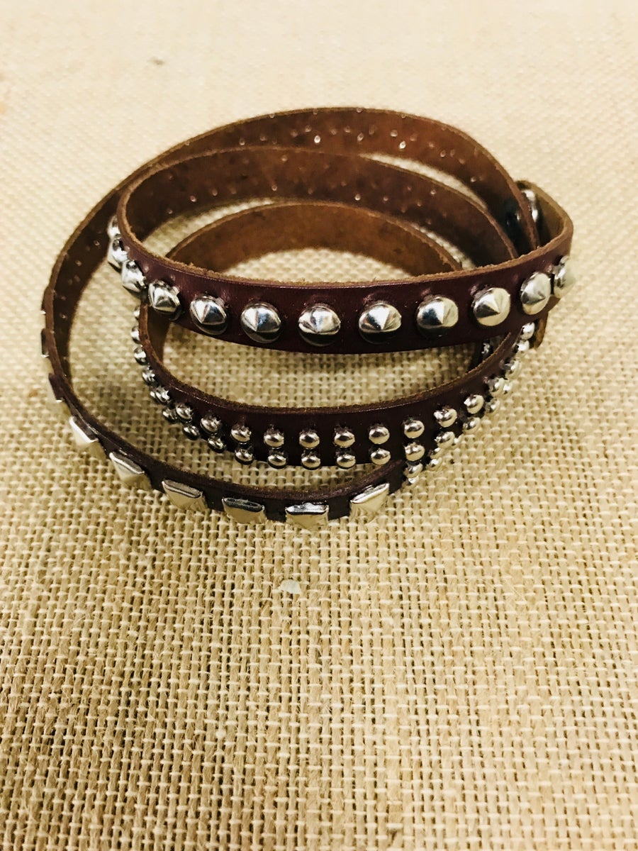 Image of All leather wrap bracelet
