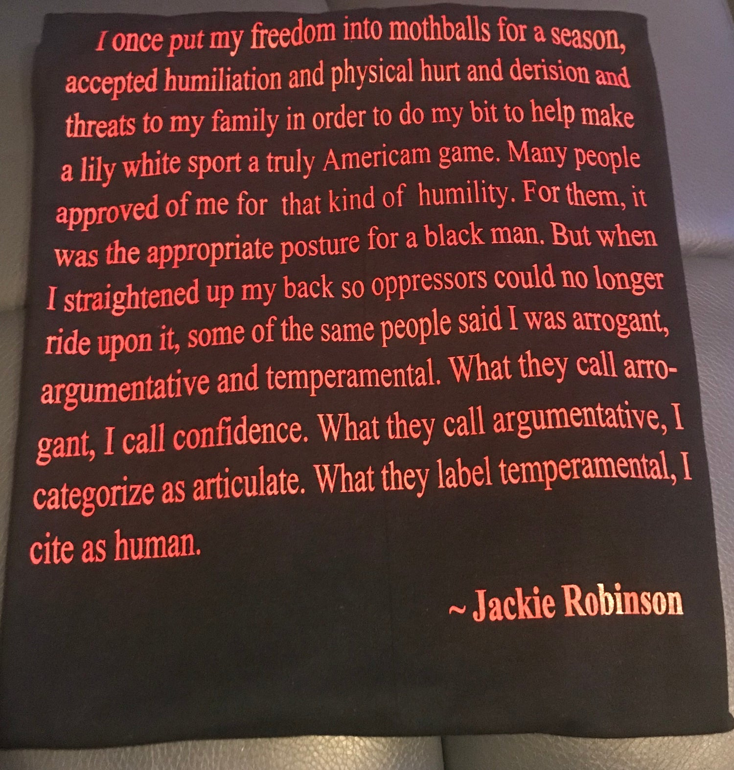 Image of KAEPERNICK & ROBINSON COLLABORATION TEE PLE W/ROBINSON QUOTE ON BACK