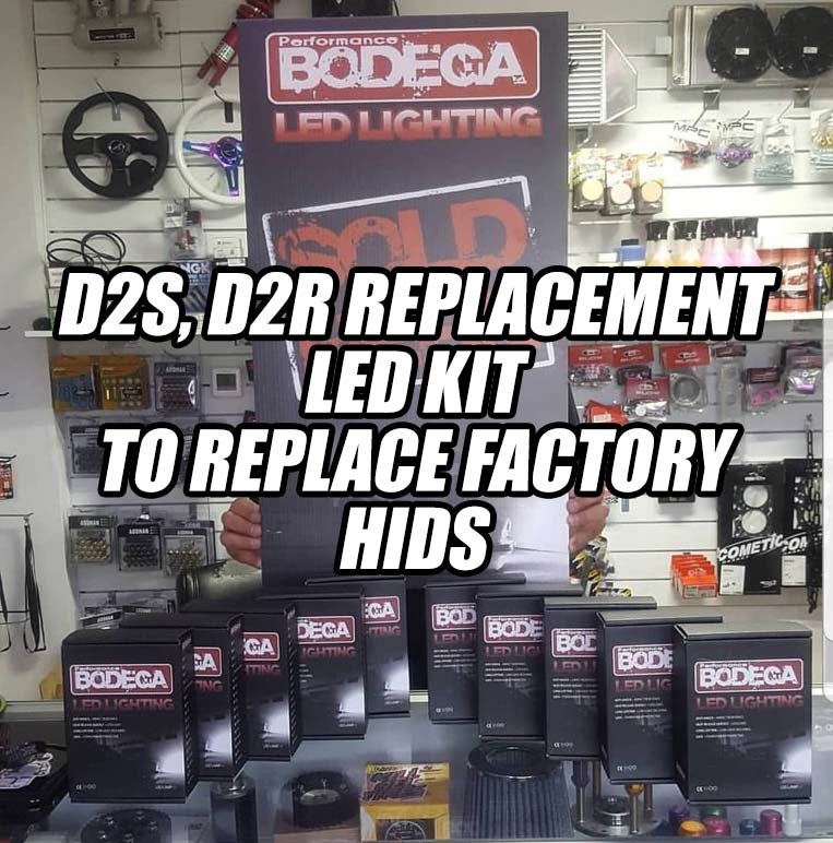 "Image of Performance Bodega ""d2s, d2r"" replacement led set.  To replace factory hids"