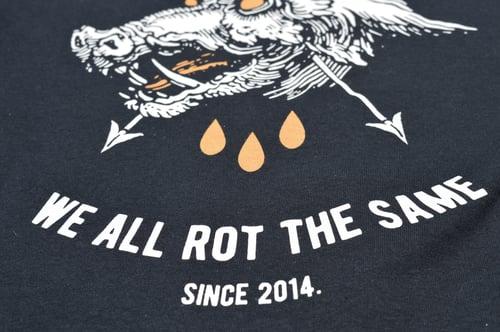 "Image of ""We All Rot The Same"" Black T-Shirt / White & Orange Print"