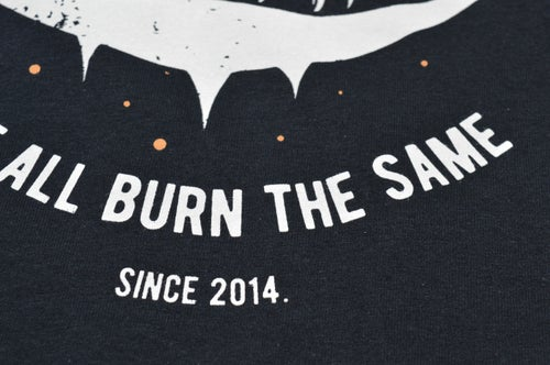 "Image of ""We All Burn The Same"" Black T-Shirt / White & Orange Print"
